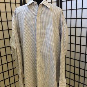 Men's button down long sleeve dress shirt.